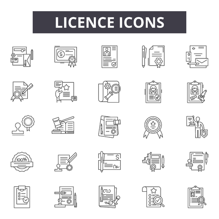 Licence line icons for web and mobile. Editable stroke signs. Licence  outline concept illustrations Stock Vector - 119235099