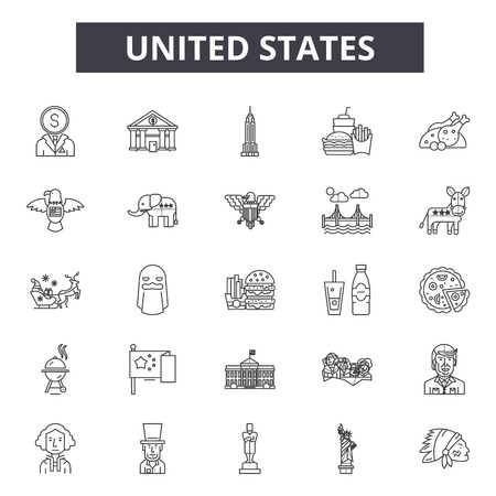 United states line icons for web and mobile. Editable stroke signs. United states  outline concept illustrations 向量圖像