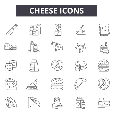 Cheese line icons for web and mobile design. Editable stroke signs. Cheese outline concept illustrations