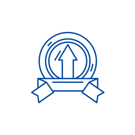 Achieving success line concept icon. Achieving success flat  vector website sign, outline symbol, illustration.
