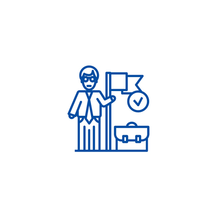 Accomplished business mission  line concept icon. Accomplished business mission  flat  vector website sign, outline symbol, illustration.