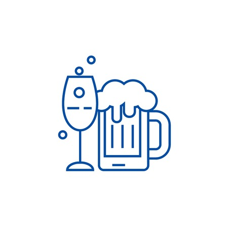 Alcoholic drinks line concept icon. Alcoholic drinks flat  vector website sign, outline symbol, illustration. 版權商用圖片 - 119710233