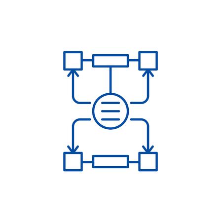 Algorithm of decisions line concept icon. Algorithm of decisions flat  vector website sign, outline symbol, illustration.