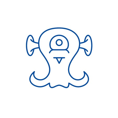 Alien creature line concept icon. Alien creature flat  vector website sign, outline symbol, illustration.
