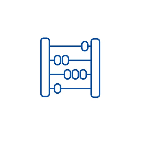 Abacus,scores,counter line concept icon. Abacus,scores,counter flat  vector website sign, outline symbol, illustration.