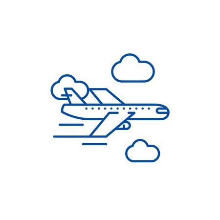 Airplane line concept icon. Airplane flat vector website sign, outline symbol, illustration. Vektorové ilustrace
