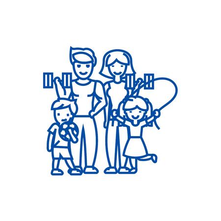 Active happy family in sport gym line concept icon. Active happy family in sport gym flat  vector website sign, outline symbol, illustration.