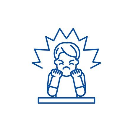 Anger line concept icon. Anger flat  vector website sign, outline symbol, illustration.