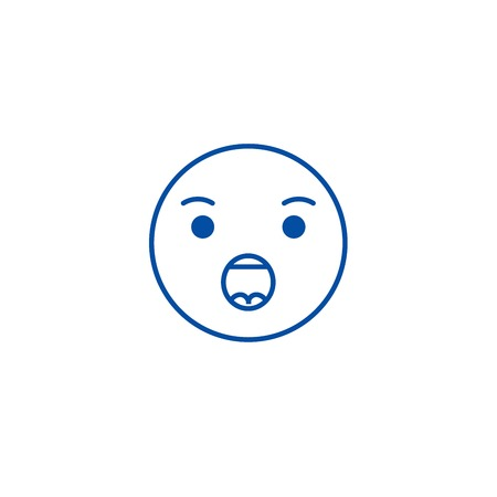 Anguished emoji line concept icon. Anguished emoji flat  vector website sign, outline symbol, illustration.