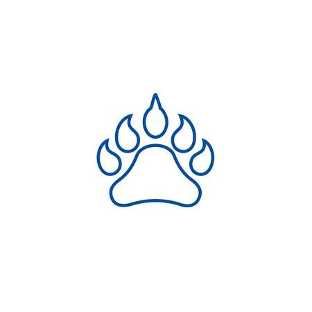 Animal footprint line concept icon. Animal footprint flat  vector website sign, outline symbol, illustration. Illustration