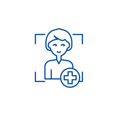 Add user line concept icon. Add user flat  vector website sign, outline symbol, illustration.