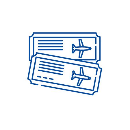 Airline tickets line concept icon. Airline tickets flat  vector website sign, outline symbol, illustration. Illusztráció