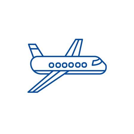 Airplane,plane line concept icon. Airplane,plane flat vector website sign, outline symbol, illustration.