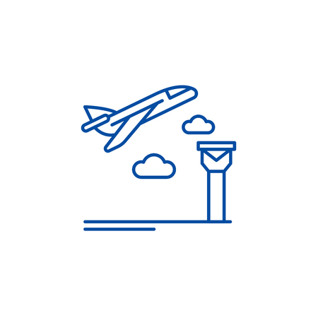 Airport line concept icon. Airport flat  vector website sign, outline symbol, illustration.