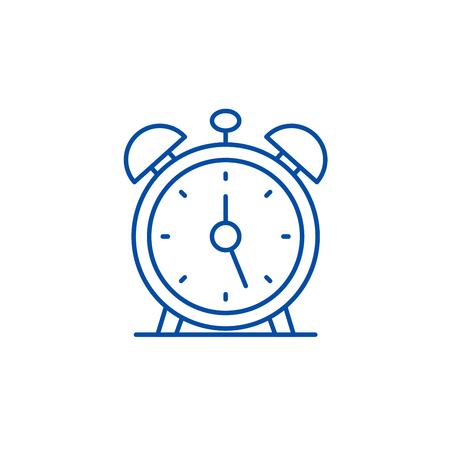 Alarm clock line concept icon. Alarm clock flat  vector website sign, outline symbol, illustration.