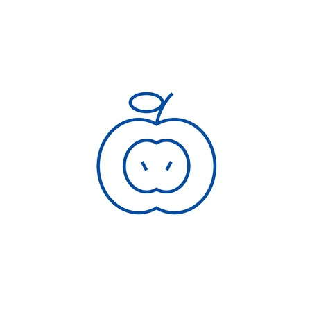 Apple sign line concept icon. Apple sign flat  vector website sign, outline symbol, illustration.