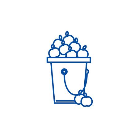 Apple, fruit harvest line concept icon. Apple, fruit harvest flat  vector website sign, outline symbol, illustration.