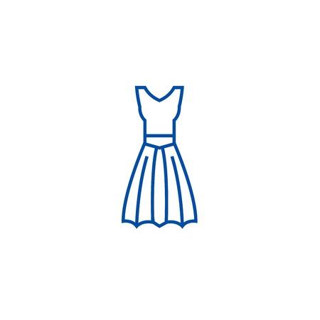 A line dress line concept icon. A line dress flat  vector website sign, outline symbol, illustration.