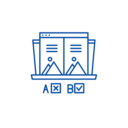 Ab test line concept icon. Ab test flat  vector website sign, outline symbol, illustration.