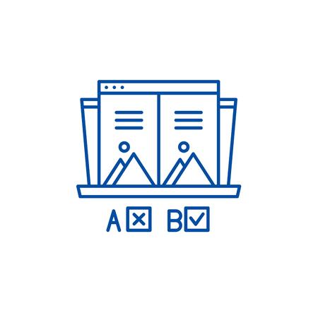 Ab test line concept icon. Ab test flat  vector website sign, outline symbol, illustration.