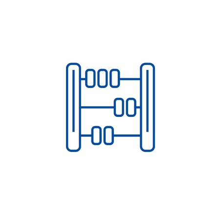 Abacus,math line concept icon. Abacus,math flat  vector website sign, outline symbol, illustration.