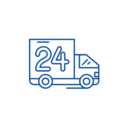 24 hours delivery  line concept icon. 24 hours delivery  flat  vector website sign, outline symbol, illustration.