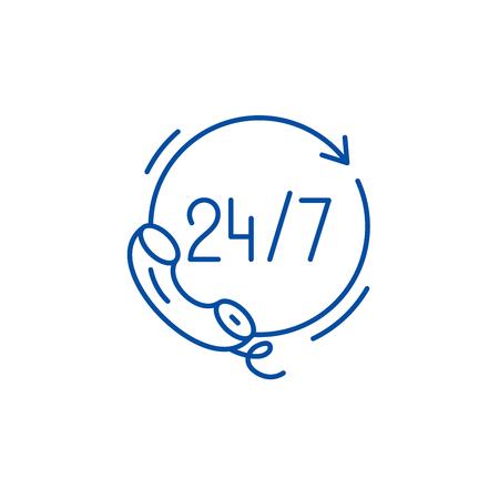 Icône de concept de ligne d'assistance 24 heures sur 24. 24 heures d'assistance à plat, signe de site Web vectoriel, symbole du contour, illustration.