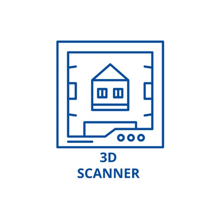 3d scanner line concept icon. 3d scanner flat  vector website sign, outline symbol, illustration.