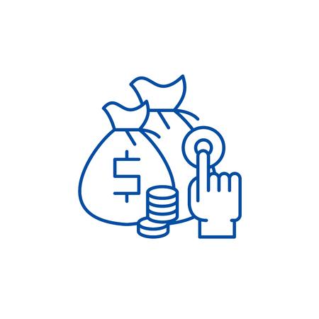 Affiliate sales line concept icon. Affiliate sales flat  vector website sign, outline symbol, illustration.