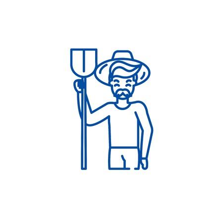 Agronomist line concept icon. Agronomist flat  vector website sign, outline symbol, illustration.