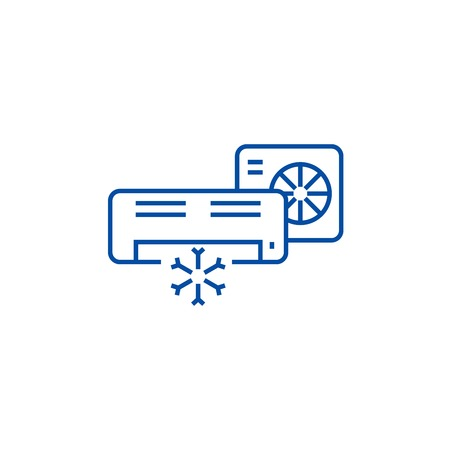 Air conditioner,split system line concept icon. Air conditioner,split system flat  vector website sign, outline symbol, illustration.