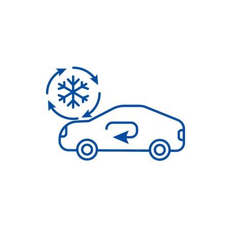 Climatisation, icône de concept de ligne de service de voiture. Climatisation, signe de site Web de vecteur plat de service de voiture, symbole de contour, illustration.
