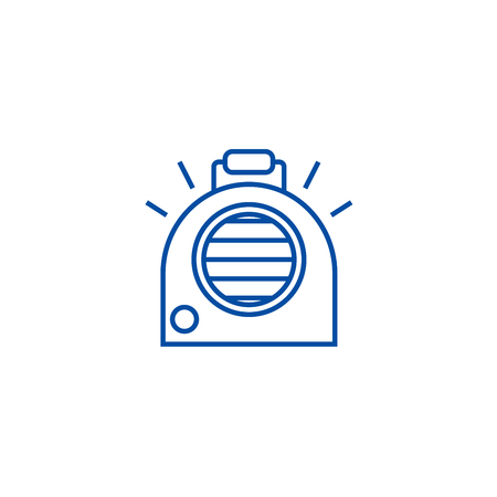 Air conditioning, portable heater line concept icon. Air conditioning, portable heater flat  vector website sign, outline symbol, illustration.  イラスト・ベクター素材