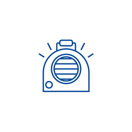 Climatisation, icône de concept de ligne de chauffage portable. Climatisation, signe de site Web de vecteur plat de chauffage portatif, symbole de contour, illustration.