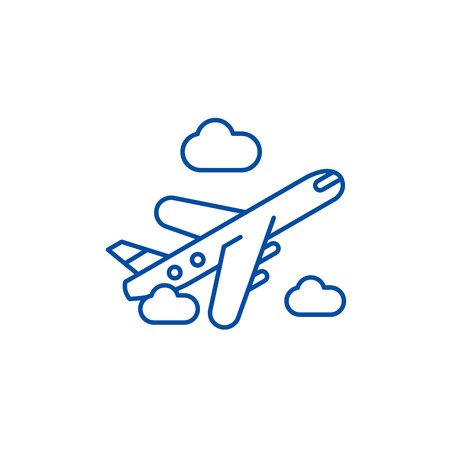Air delivery line concept icon. Air delivery flat  vector website sign, outline symbol, illustration.