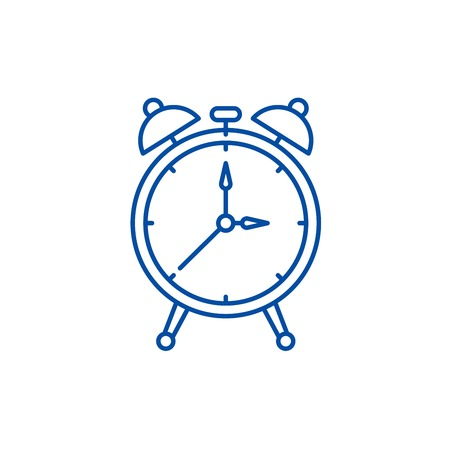 Alarm watch line concept icon. Alarm watch flat  vector website sign, outline symbol, illustration.