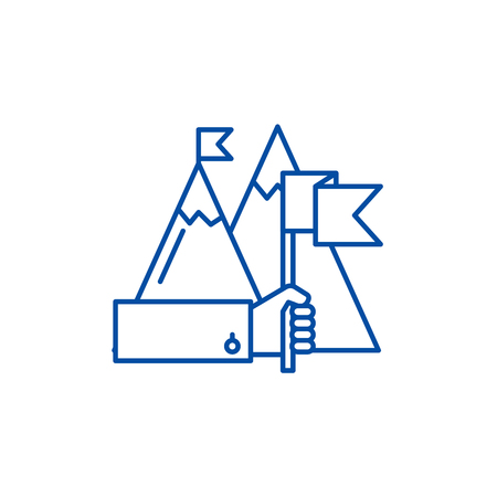 Ambitious goals line concept icon. Ambitious goals flat  vector website sign, outline symbol, illustration.