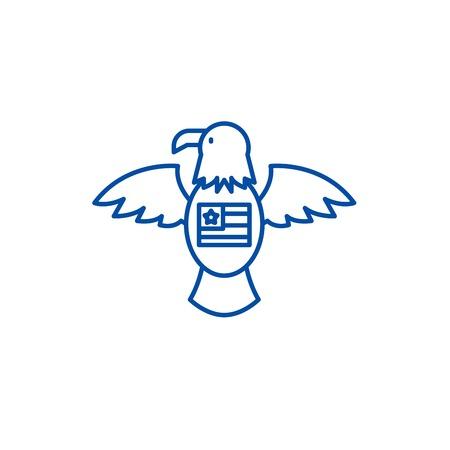 American eagle line concept icon. American eagle flat  vector website sign, outline symbol, illustration.