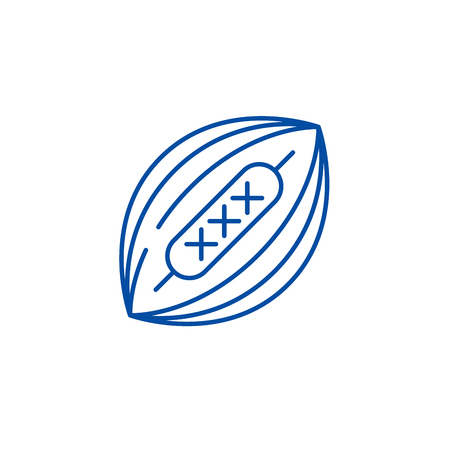 American football line concept icon. American football flat  vector website sign, outline symbol, illustration.