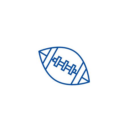 American football ball line concept icon. American football ball flat  vector website sign, outline symbol, illustration. Illustration