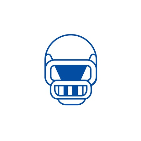American football helmet line concept icon. American football helmet flat  vector website sign, outline symbol, illustration.