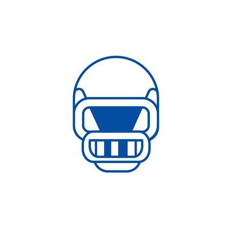 American football helmet line concept icon. American football helmet flat  vector website sign, outline symbol, illustration.