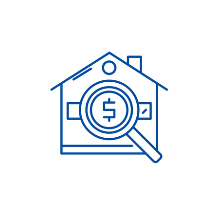 Analysis of real estate prices line concept icon. Analysis of real estate prices flat  vector website sign, outline symbol, illustration.