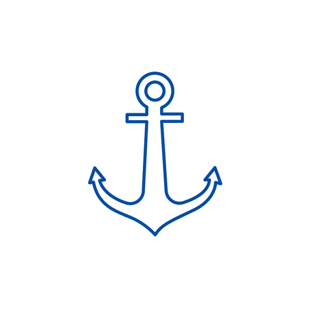 Anchor line concept icon. Anchor flat  vector website sign, outline symbol, illustration.
