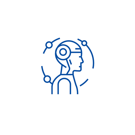 Android, robot line concept icon. Android, robot flat  vector website sign, outline symbol, illustration.