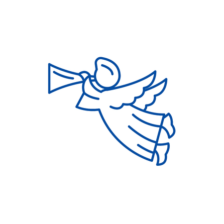 Angel line concept icon. Angel flat vector website sign, outline symbol, illustration.