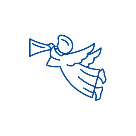 Icona del concetto di linea di angelo. Angelo piatto vettore sito web segno, simbolo di contorno, illustrazione.