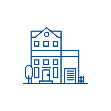 Apartment building line concept icon. Apartment building flat  vector website sign, outline symbol, illustration.