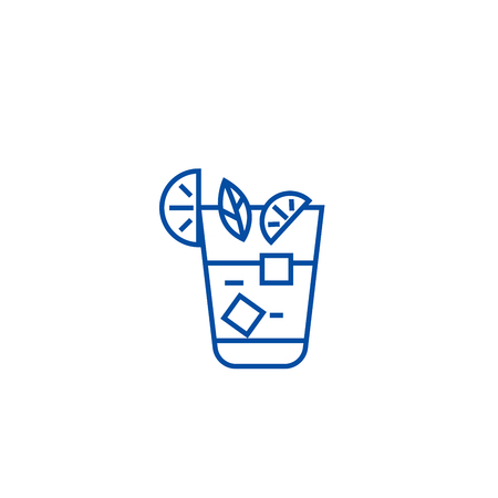 Aperitif, beverage line concept icon. Aperitif, beverage flat  vector website sign, outline symbol, illustration.