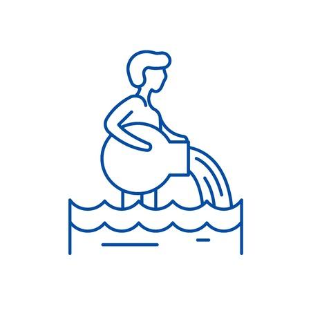 Aquarius zodiac sign line concept icon. Aquarius zodiac sign flat  vector website sign, outline symbol, illustration. Stock Illustratie